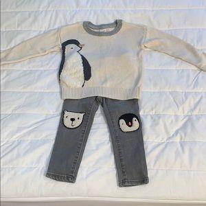 Gap 2t penguin sweater and gray denim Jeans set